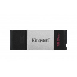 Kingston Technology DataTraveler 80 USB-muisti 128 GB USB Type-C 3.2 Gen 1 (3.1 Gen 1) Musta, Hopea
