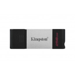 Kingston Technology DataTraveler 80 USB-muisti 256 GB USB Type-C 3.2 Gen 1 (3.1 Gen 1) Musta, Hopea