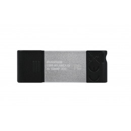 Kingston Technology DataTraveler 80 USB-muisti 64 GB USB Type-C 3.2 Gen 1 (3.1 Gen 1) Musta, Hopea