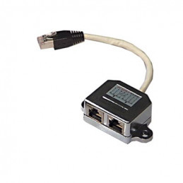 Deltaco 665-F cable gender changer 1x RJ45M 2x RJ45F Musta, Valkoinen