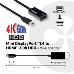 CLUB3D Mini DisplayPort 1.4 to HDMI 2.0b HDR Active Adapter