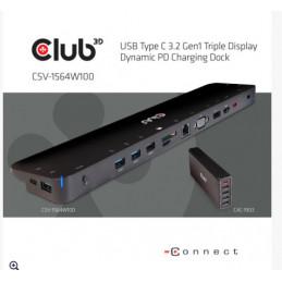 CLUB3D USB 3.2 GEN1 C TRIPLE DISPLAY DYNAMIC 100W PD CHARGING DOCK. THE 5 X USB-A PORTS Telakointi USB 3.2 Gen 1 (3.1 Gen 1)