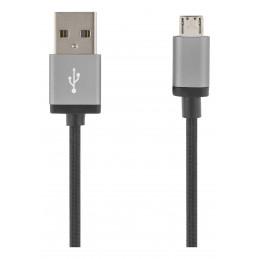 Deltaco MICRO-113F USB-kaapeli 2 m USB 2.0 USB A Micro-USB B Musta