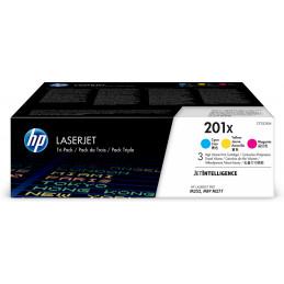 HP 201X värikasetti 3 kpl Alkuperäinen Syaani, Magenta, Keltainen