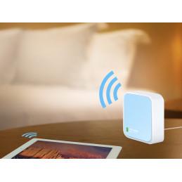 TP-LINK 300Mbps Wireless N Nano Router langaton reititin Nopea Ethernet Yksi kaista (2,4 GHz) Sininen, Valkoinen
