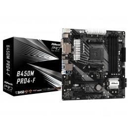 Asrock B450M Pro4-F AMD B450 Kanta AM4 mikro ATX