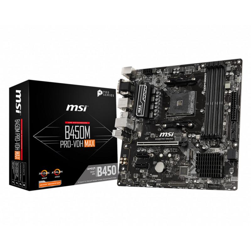 MSI B450M PRO-VDH Max AMD B450 Kanta AM4 mikro ATX